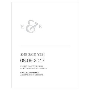 Monogram Simplicity Save The Date Card - Simple Ampersand (Pack of 1)