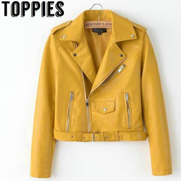2018 Spring Bright Yellow Women PU Leather Jackets Zipper Leather Coat Turn-down Collar Female PU Jackets Pink Black Color
