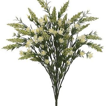 """Artificial Heather Wildflower Bush in White - 24"""" Tall"""