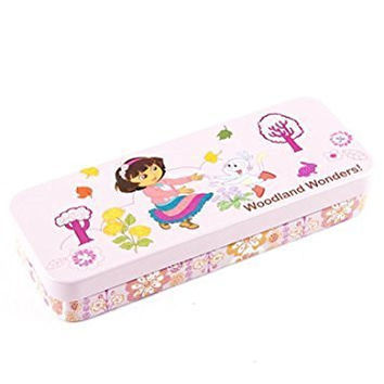 "8"" Tin School Pencil Case Dora,Frozen,Hello Kitty,Mickey,Disney,Sofia,Spiderman,Strawberry Shortcake DORA 20423-1 DORA 20423-2"