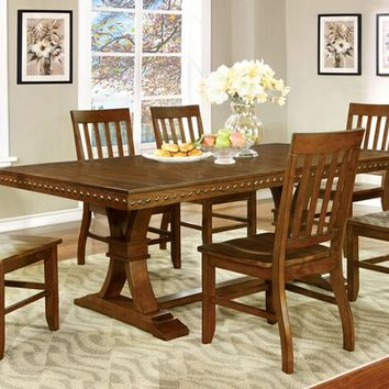 Furniture of america CM3437T 7 pc. foster i transitional style dark oak finish wood dining table with nail head trim edge