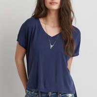 Don't Ask Why V-Neck T-Shirt, Teal | American Eagle Outfitters