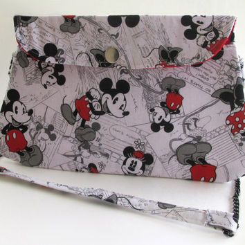 Disney Clutch Purse with Chain Strap / Mickey Mouse / Minnie Mouse