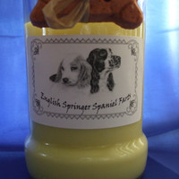 English Springer Spaniel Farts Candle in a Recycled Liquor Bottle - 10oz