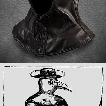 Plague Doctor hood in black leather
