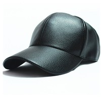 Leather Biker Cap