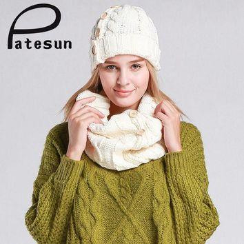 Patesun Women Knitted Hat And Scarf Lady Button Mosaic Beanies Warm Hat Female Winter Autumn Cap Christmas Gift Mutsen En Sjaals