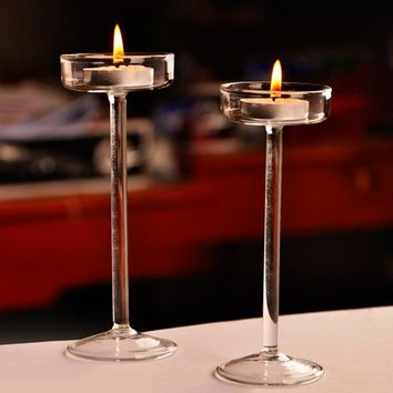Classic Glass Candle Holder Wedding Bar Party Home  Decoration Goblet Tall Candlesticks