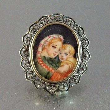 Vintage 800 Silver Filigree Hand Painted Cameo Brooch Pendant, Mother & Child Portrait Under Glass