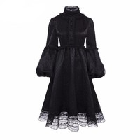 Vintage Dress Black Mesh Lace A-Line Fashion Lolita Lantern Sleeve Princess Preppy Retro Goth Dress