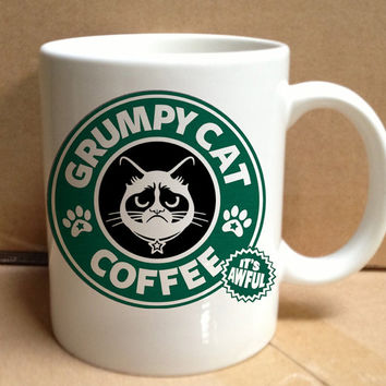 starbuck grumpy cat coffee design for mug, ceramic, awesome, good,amazing