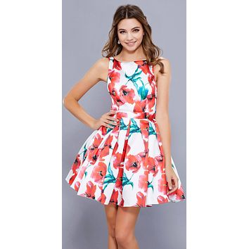 Red Floral Print A-line Homecoming Short Dress Open Back