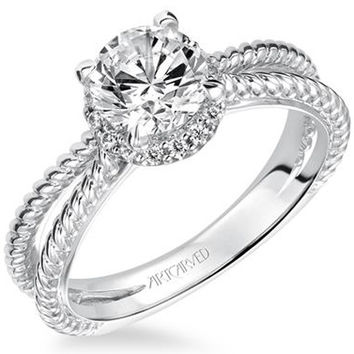 "Artcarved ""Serina"" Split Shank Halo Diamond Engagement Ring"