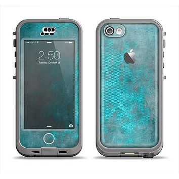 The Grungy Bright Teal Surface Apple iPhone 5c LifeProof Nuud Case Skin Set