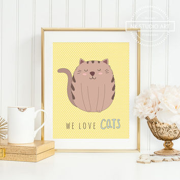 Cute Cats Nursery Decor | Childrens Wall Art | Baby Girl Room Ideas  | We Love Cats