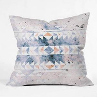 Caleb Troy Arctic Gold Tribal Throw Pillow