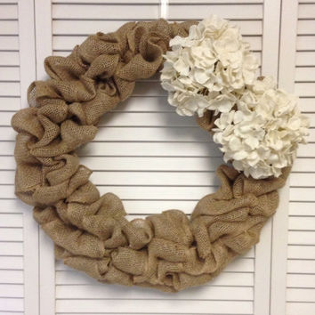 "18"" Burlap Wreath with Burlap Hydrangeas, Wreath for All Year, Burlap Wreath, Fall Wreath, Neutral Wreath, Large Wreath, Burlap Wreath"