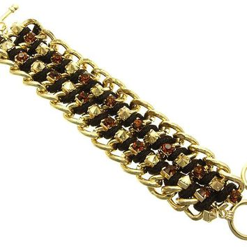 Brown Layered Chunky Chain Crystal Stone Bracelet