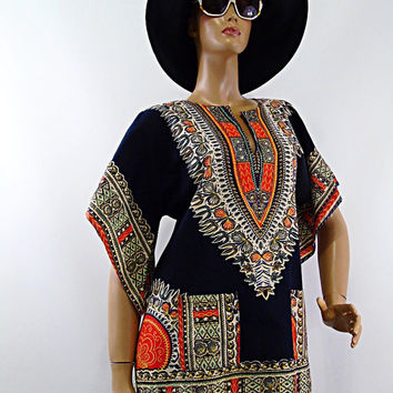 Vintage Dashiki Ethnic Pakistan Mod Blouse Hand Print Angel Sleeve  Bohemian Top Hippie Hipster Tunic Mini S Boho