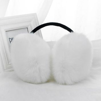 New Boys Girls Winter Warm Lovely Cute Rabbit Fur Cartoon Plush Adult Children Earmuffs Ear Thick Kids Ear Muffs 8 Colors Hot