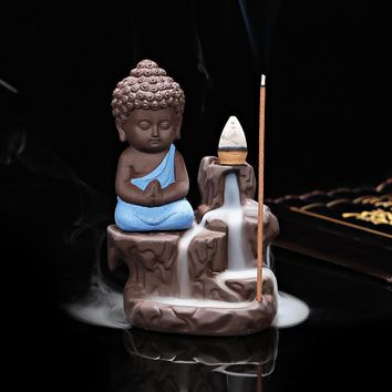 Creative Little Monk Backflow Incense Burner for Cones or Sticks
