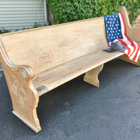 Antique Church Pew, 1892 Oak Church Pew, Large Wood Church Pew Bench, Farmhouse Bench