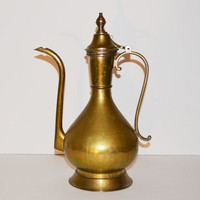 Vintage Brass Pitcher Teapot Decorative Brass India Pitcher Bohemian Middle Eastern Décor Boho Brass Pitcher