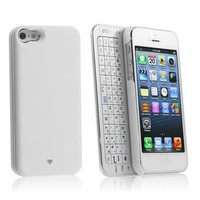 Chromo Inc® iPhone 5/5S Wireless Bluetooth Backlit Keyboard with Micro Usb Charger Ultra-thin Case Full QWERTY Keyboard - White