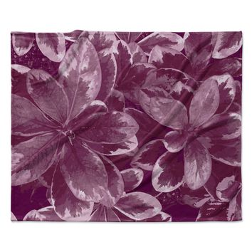 "Julia Grifol ""Warm Leaves"" Red Digital Fleece Throw Blanket"