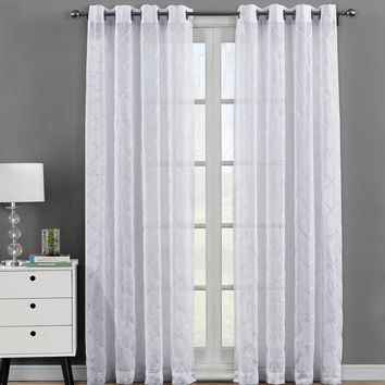 White Pair (Two Panels ) Embroidered Grommet Top Sheer Panel Curtains Miller-