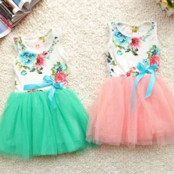 Baby dresses for girls infant cotton clothing sleeveless tutu dress ribbons beautiful summer clothes flower printed