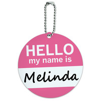 Melinda Hello My Name Is Round ID Card Luggage Tag