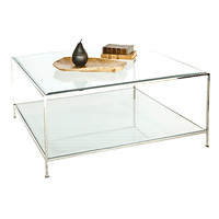 Hammered nickel plated square coffee table with beveled glass tops.
