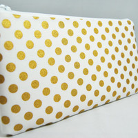 Metallic gold polka dot on white cosmetic case, makeup bag, zipper pouch, clutch