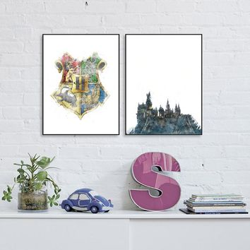 Harry Potter Canvas Art Print and Poster , HOGWARTS Castle and logo Canvas Painting Wall Art Picture Living Room Home Decor