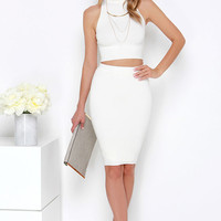 Month of Sundays Cream Bodycon Two-Piece Dress