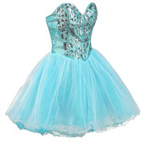 Faironly Zxs1 Mini Short Crystal Prom Cocktail Dress (XL, Turquoise)