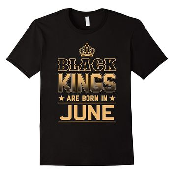Men's Black Kings Are Born In June T Shirt