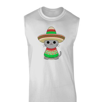 Cat with Sombrero and Poncho Muscle Shirt  by TooLoud