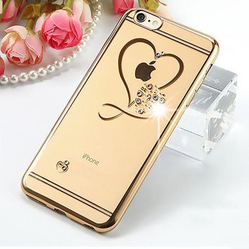 Gold Crystal Hearts Case For iPhone 6 6s 6+ 7 7+