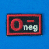 Blood Group Type O Negative O- Biker medical Information Patch for Vest Jacket