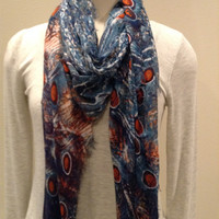 BLUE PACIFIC SILK AND CASHMERE RECTANGLE PEACOCK SCARF TEAL