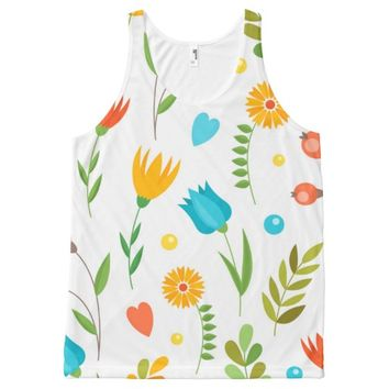 Colorful Flower Pattern All-Over Print Tank Top