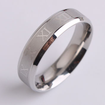 New 316L Sliver stainless steel Roman numerals spin rings for men jewelry FREE SHIPPING