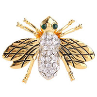 EVER FAITH® Women's Austrian Crystal Lovely Baby Honey Bee Insect Brooch Pin Clear Gold-Tone