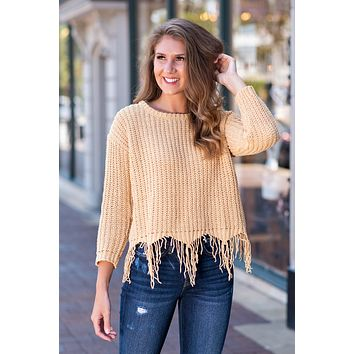 Lost Without You Distressed Chenille Sweater : Mustard