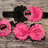 Hot Pink and Black on Black Band Batman Baby Headband and Barefoot Sandal Set!