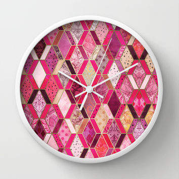 Wild Pink & Pretty Diamond Patchwork Pattern Wall Clock by Micklyn