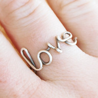 Love ring Sterling silver ring Custom by Karismabykarajewelry