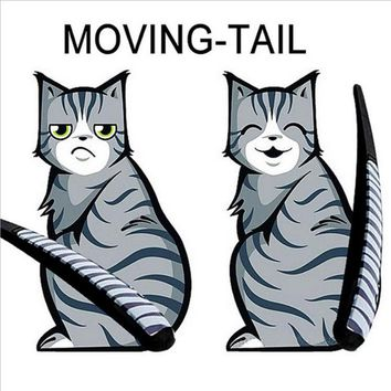 KAWOO 3 Styles Cartoon Funny Cat Moving Tail Stickers Reflective Car Animals Window Wiper